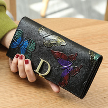 Luxury Genuine Leather Wallets Long Women Clutch bags Brand