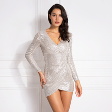 Sexy V Neck sequined Mini Dress Full Sleeved Autumn Party Night Club Short Pleated Bodycon