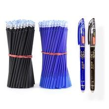 2 + 50 יח\סט 0.5mm כחול שחור דיו ג ל עט מחיק מילוי מוט מחיק עט רחיץ ידית כתיבת ספר מכתבים ג ל דיו עט