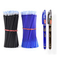 2+50Pcs/Set 0.5mm Blue Black Ink Gel Pen Erasable Refill Rod Erasable Pen Washable Handle School Writing Stationery Gel Ink Pen