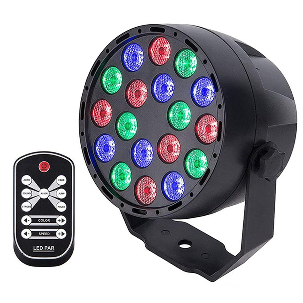 18W High Power LED Par Lights RGB Stage Lights 7 Modes DMX Controlled Sound Activated Stage Effect Lighting For Party DJ