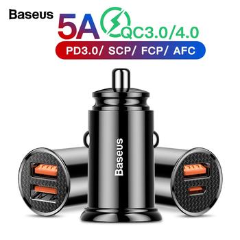 Baseus szybkie ładowanie 4 0 3 0 ładowarka samochodowa USB dla iPhone 11 Pro Max Xiaomi Huawei SCP QC4 0 QC3 0 QC 5A szybka ładowarka samochodowa PD tanie i dobre opinie Typ C Baseus PPS QC4 0+ Car Charger Qualcomm szybkie ładowanie 4 0 Gniazda zapalniczki samochodowej 12-24 V 2 4A RoHS Ładowarka samochodowa
