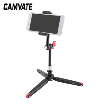 "CAMVATE Firm Foldable Mini Tabletop Tripod + 11"" Magic Arm With 1/4"" Threads + Cellphone Clip C2511"
