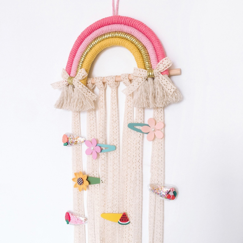 Rainbow Tassel Wall Hanging Ornaments Hair Bows Storage Belt Girls Room Decoration Hair Clips Hanger Organizer Tapestry #
