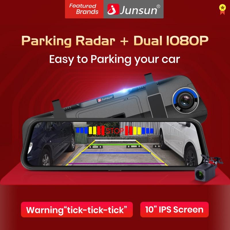 "Junsun New 10"" Car DVRs Camera with Parking Radar Monitor FHD 1080P Dash Cam Dual Rearview Mirror Video Recorder Auto Dashcam 1"