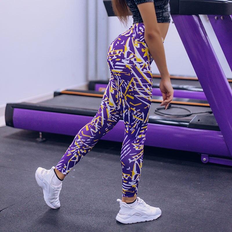 2 Color Push Up Leggings Women Stripe Printing Pant Legging Femme High Waist Fitness Sportswear Elastic Knitted Workout Leggings