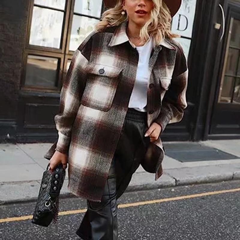 Vintage Women 2019 Long Sleeve Woolen Coats Fashion Ladies Thick Plaid Coat Female Streetwear Elegant Girls Oversize Jacket Chic