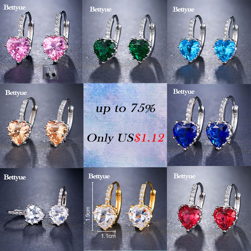 Bettyue Cute Earring Zircon Multicolor Elegant Hearts Shape Jewelry Fashion Trend Design Adorable For Women Party Choice 4
