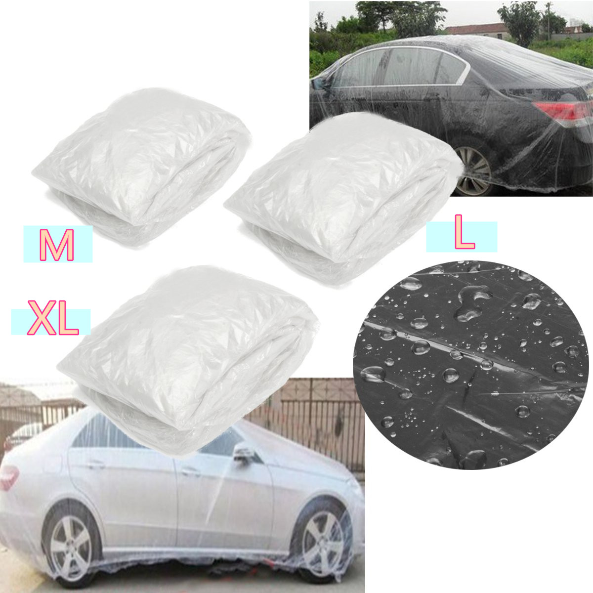 M/L/XL Disposable Car Cover Waterproof Transparent Plastic Dustproof Cover Auto Rain Covers Universal