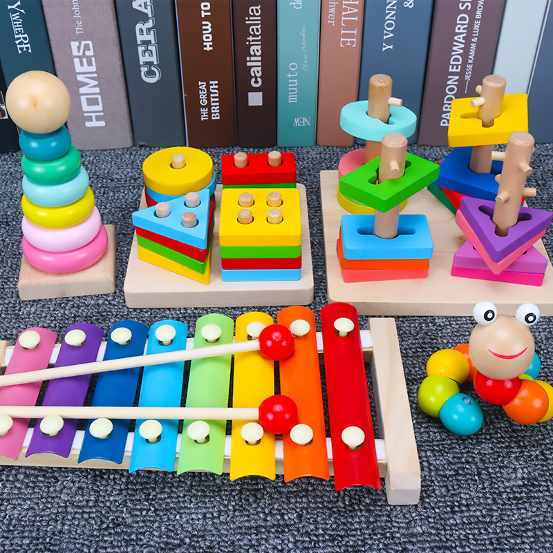 Toy Early Education GIRL'S Children 1-2-3 A Year Of Age A-Year-Old Infant Men's Building Blocks Mainland China Bead-stringing To