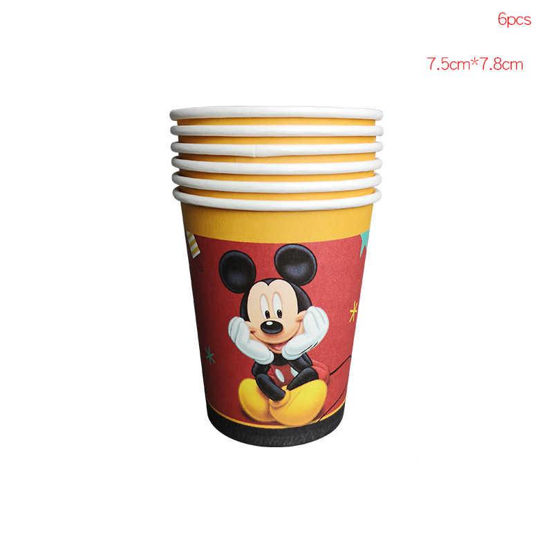 Decoraciones de fiesta de cumpleaños de Mickey Mouse de dibujos animados para niños, servilletas para Baby Shower, decoración de globos para tarta, suministros para fiestas de cumpleaños