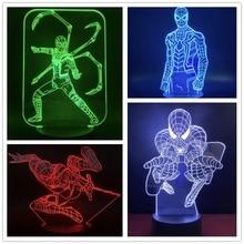 Marvel Avengers 3D lamp Spiderman Action Figure LED Night Light Superhero Illusion Lamp Bedroom Decoration Lampara Kid Xmas Gift