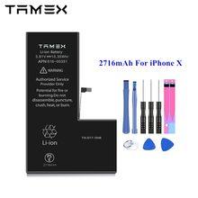 2716mAh dla iPhone X wymiana baterii najlepsza jakość dla iPhone 10 IOS inteligentne baterie do telefonów komórkowych Akku TAMEX OEM