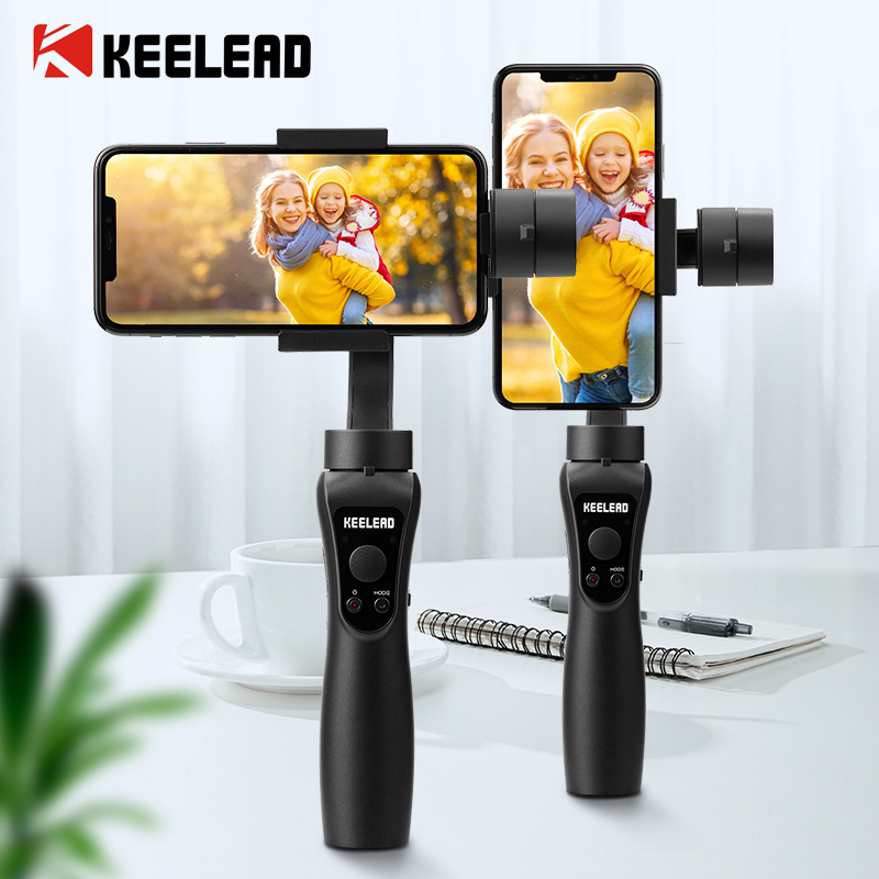KEELEAD 3-Axis Handheld Gimbal Stabilizer For Smartphone Action Camera Gopro Video Record Vlog Live Selfie Stick Focus Pull Zoom