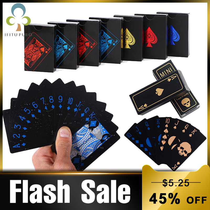 Quality Waterproof PVC Plastic Playing Cards Poker Classic Magic Tricks Tool Pure Black Magic Box-packed Free Shipping GYH(China)
