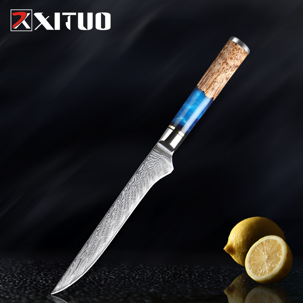Kitchen Knives Set Damascus Steel Blue Resin and Color Wood Handle Cooking Tools