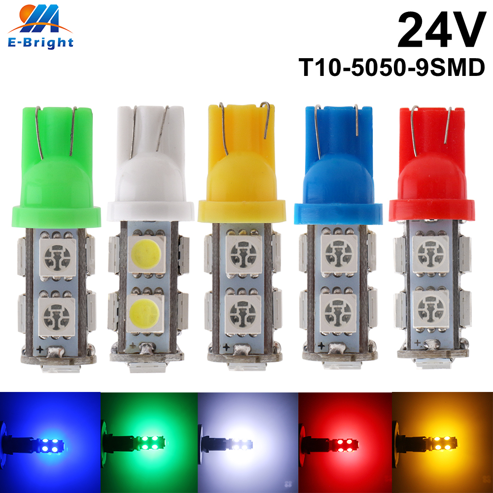 4 Pcs 24V W5w T10 5050 9 SMD LED Bulbs Truck Car Door License Plate Clearance Lights White Blue Red Green Amber Pink Mix Colors