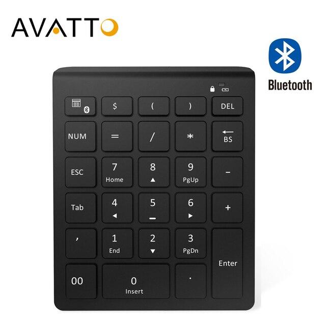 AVATTO 28 Keys Bluetooth Wireless Numeric Keypad Mini Numpad with More Function Keys Digital Keyboard For