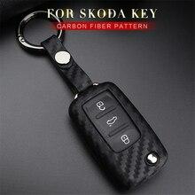 Silica Gel Car Key Case Fob Cover For Skoda Fabia Octavia Karoq Superb Kodiaq Rapid For Seat For VW Golf Key Ring Accessories