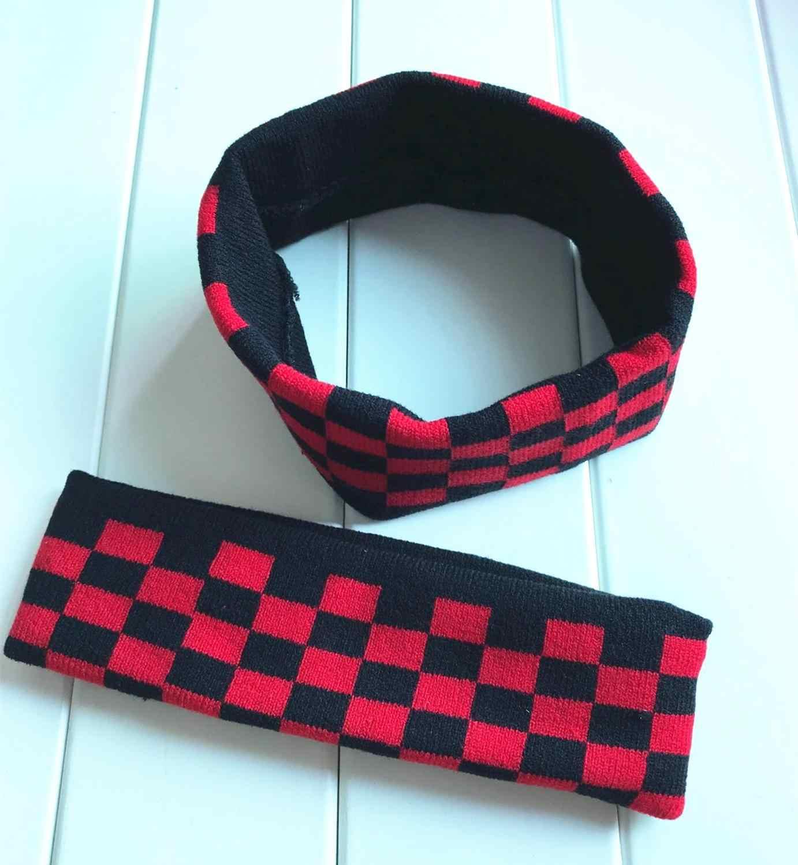 Kpop kim tae hyung moda bandana elástica faixas de cabelo macio masculino vermelho-preto xadrez hairband bangtan meninos v headwrap presente