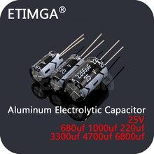 Condensateur électrolytique en aluminium, 25V, 680uf, 1000uf, 220uf, 3300uf, 4700uf, 6800uf, DIP, en Stock