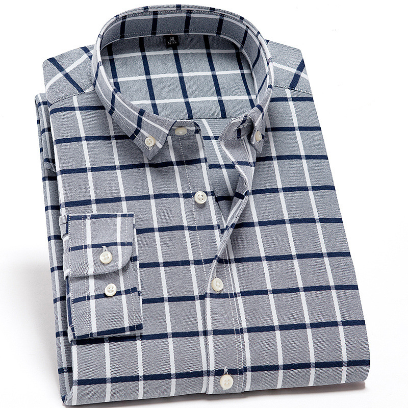 Men Oxford Cloth Long-sleeved Shirt MEN'S Shirt Casual Large Size Comfortable Plaid Daddy Clothes Men's Spring And Autumn Shirt