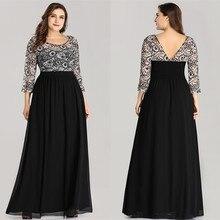 А-силуэт размера плюс длина до пола вечернее платье Осень Кружева шифон совок платье 3/4 рукава с открытой спиной Вечерние платья