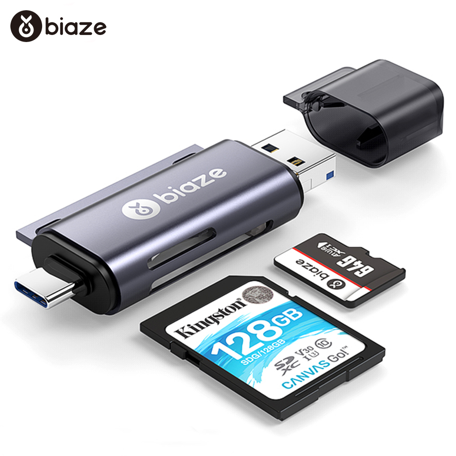 Biaze USB-C Card Reader USB 2.0 Micro SD TF Cards OTG Memory Card Adapter For PC Laptop Phones Type C Micro USB SD Card Reader