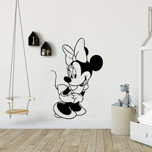 Disney Minnie Mouse Lovely Shy Vinyl Wall stickers for Girls Room Kids room bedroom accessories Decal Cartoon Murals poster