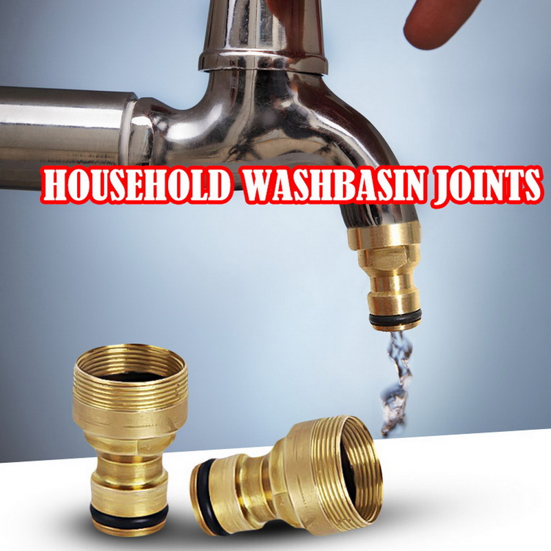 23mm Hose Quick Connector Brass Threaded Garden Water  Connector Tube Fitting Tap Adapter (golden)