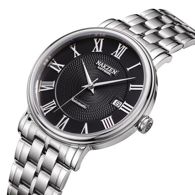 NAKZENผู้ชายนาฬิกายี่ห้อLuxury Manสแตนเลสนาฬิกาข้อมือนาฬิกาRelogio Masculino Miyota 9015