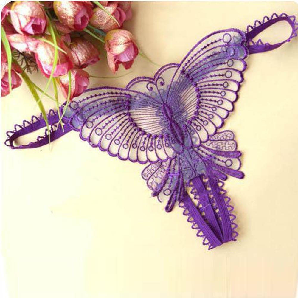 Butterfly Lace Micro Women Opening Crotch Panties Thongs G Strings Transparent Underwear Ladies Underwear Lingerie Sexy