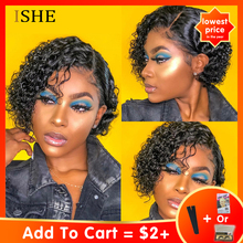 Wig Short-Wigs Hair-Glueless Human-Hair Lace-Frontal Curly Remy Natural Women Brazilian
