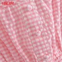 Tangada Women Pink Plaid Long Dress Strap Sleeveless 2021 Summer Fashion Lady Elegant Dresses Vestido 3H114 3