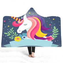 Unicorn Hooded Blanket For Home Travel Cartoon 3D Printed Portable Bed Wearable Warm Throw Adults Childs
