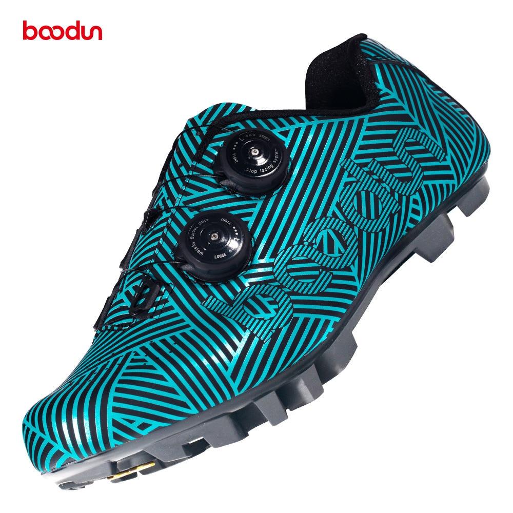 Boodun vtt chaussures de cyclisme hommes course sur route professionnel course vélo auto-verrouillage chaussures semelle en caoutchouc résistant à l'usure chaussures d'équitation