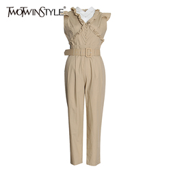 TWOTWINSTYLE Causal Patchwork Ruffles Jumpsuits For Female Lapel Collar Sleeveless High Waist With Sashes Long Jumpsuit Women
