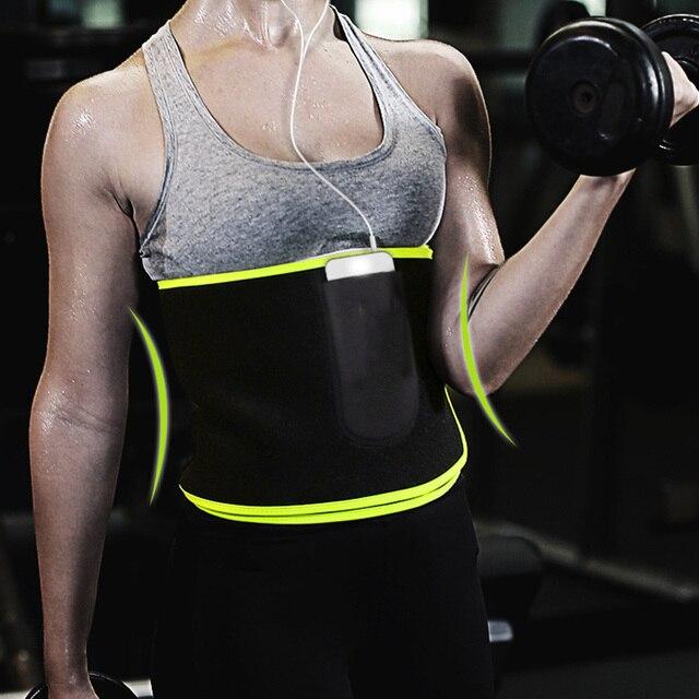 Women Men Sweat Wrap Waist Trimmer Neoprene Protective Weight Loss With Pocket Black Workout Exercise Belt Adjustable Flexible 2