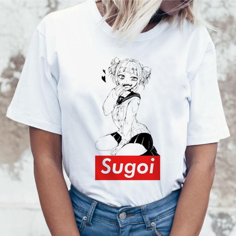 Ahegao Cartoon T Shirt Women Harajuku Boku No Hero Academia Anime T-shirt Senpai Funny Tshirt Hentai Himiko Toga Top Tees Female