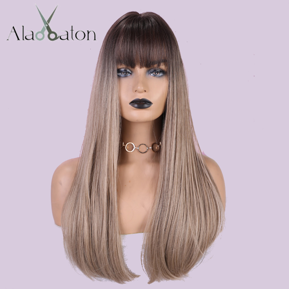 ALAN EATON Long Straight Wigs With Bangs Ombre Black Brown Hair Sythetic Wigs For Women High Temperature Fiber Club Wig Cosplay