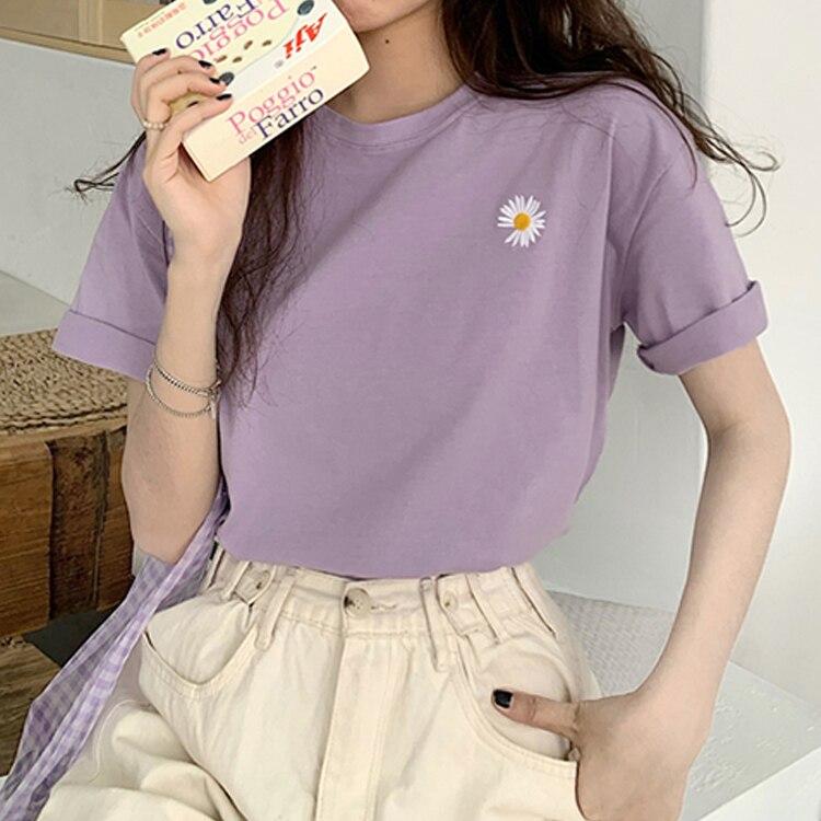 hot sale Korean Flowers embroidery Women T-shirt Summer Short Sleeve Simple Tee shirt Femme Casual Loose t shirt Camisetas Mujer 1