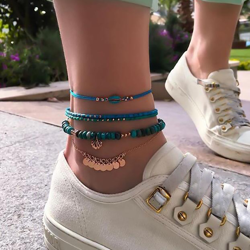 Tocona 4Pcs/set Trendy Layered Blue Shell Beaded Women Anklet Bohemian Beach Jewelry Foot Bracelet Foot Decoration 8792