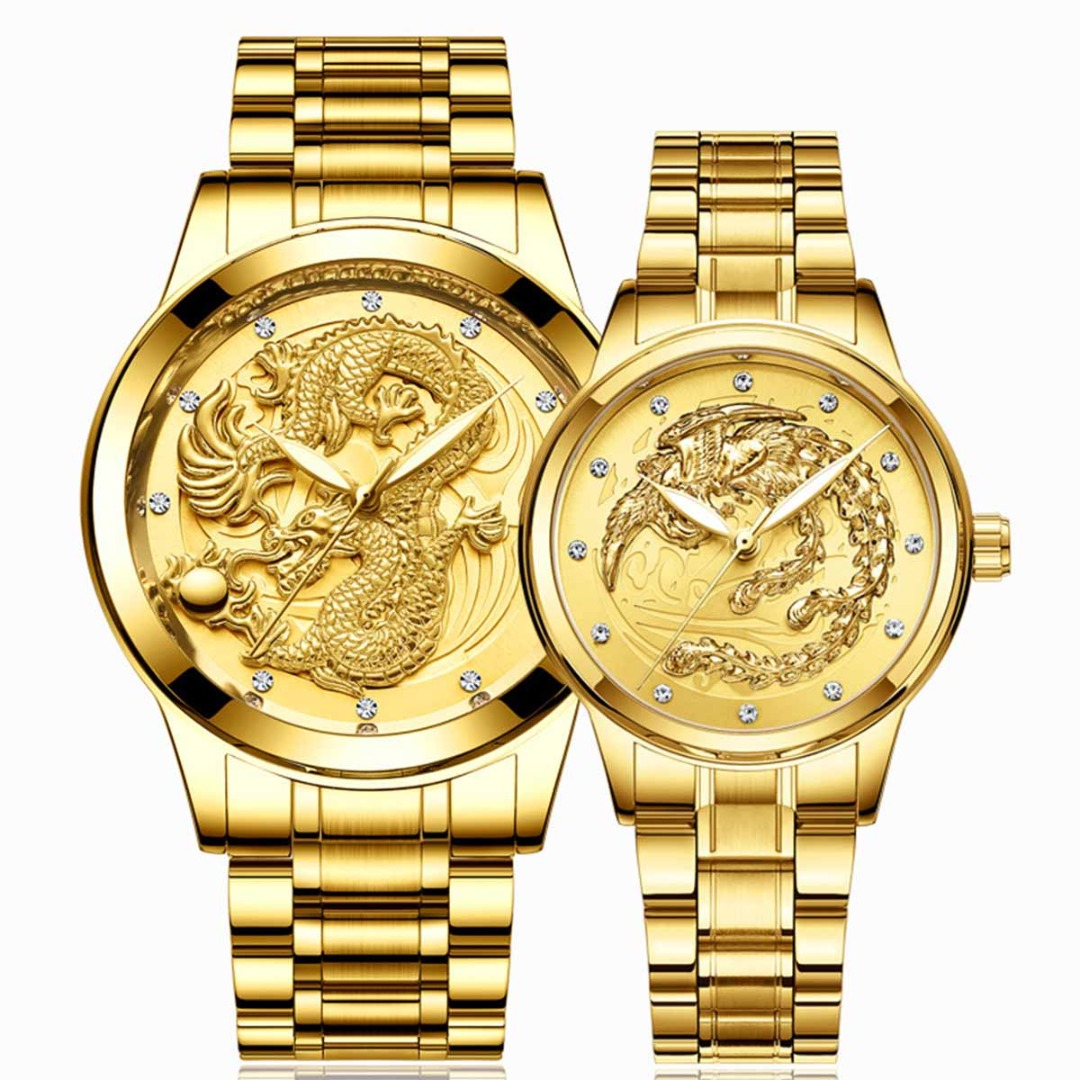 Fashion Couple Watch Gold Dragon Black Watch Men Luxury Quartz Watch Luminous Embossed Phoenix Women Steel Watch Love Gift