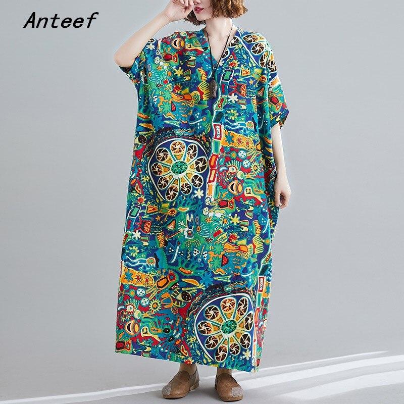 Женское винтажное пляжное платье с коротким рукавом размера плюс, повседневное Свободное длинное пляжное платье макси, элегантная одежда 2021