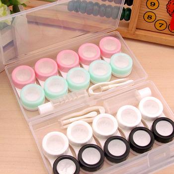 6 par kontakt futerał na okulary soczewki kontaktowe Box kobiety podróże soczewki kontaktowe Case szczelne pojemniki soczewki pudełko na pudełko wystawowe tanie i dobre opinie Unisex CN (pochodzenie) ROUND AUS417109 Stałe