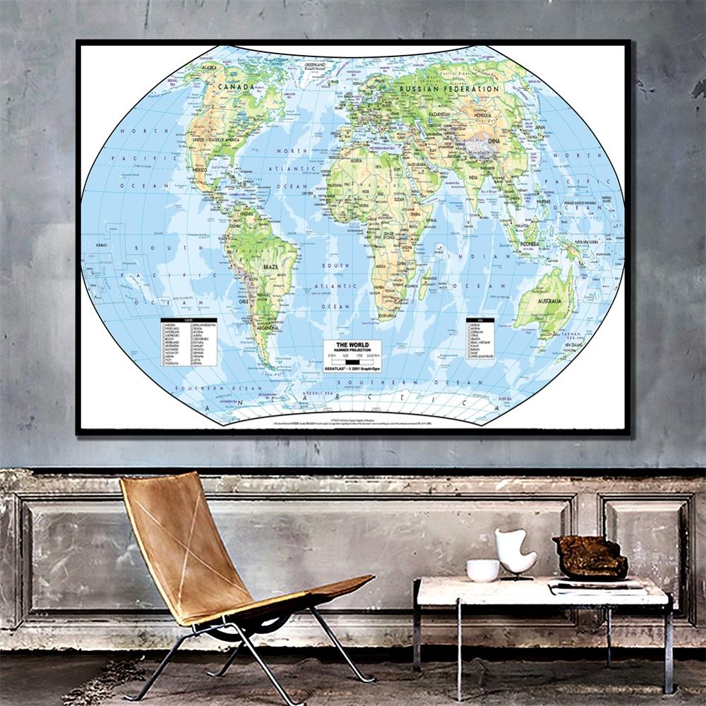 A2 Size The World Map Hammer Projection HD Fine Canvas Wall Map Unframed Home Decor Crafts