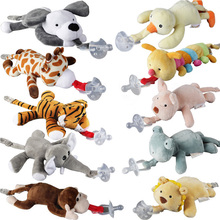 1Pc Cute Baby Cartoon Dummy Pacifier Chain Clips Newborn Plush Animal Toys Toddler Soother Nipples Holder (not include Pacifier) cute newborn silicone funny baby pacifier clips chain animal pacifiers with plush toy soother nipple dog monkey worm anz01