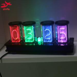 zirrfa [GIXIE CLOCK] 4 Bits RGB Full Color LED Glow Tube Digital Clock Kit Retro Desk Watch 5V Electronic DIY kit