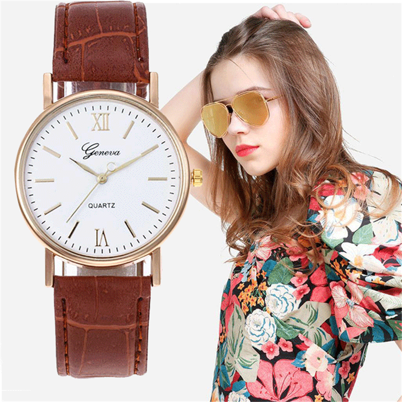 Fashion Female Business Watches Retro Leather Belt Roman Dial Geneva Clock Women Watches Casual Analog Quartz Reloj Mujer New 40