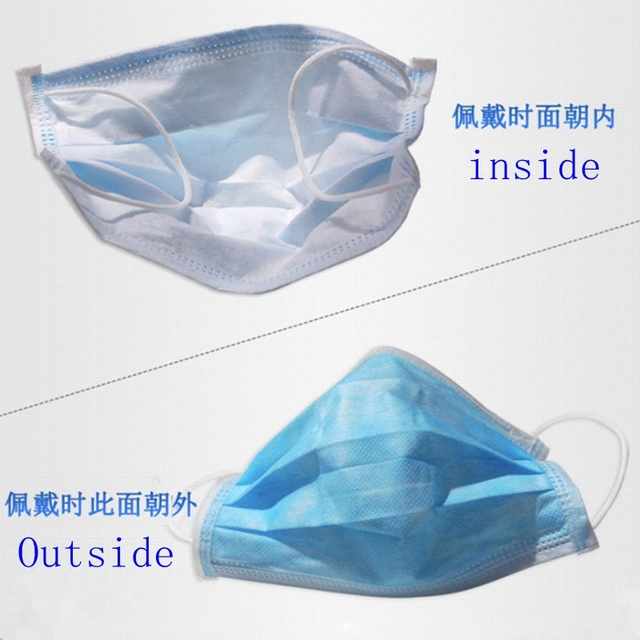 200pcs Certification Disposable mask 3-Layer Non-woven Disposable Soft Breathable Flu Hygiene Face Mask Features as 5